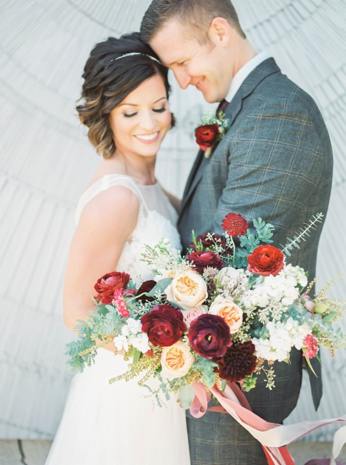 Overflowing bouquet in blush and burgundy