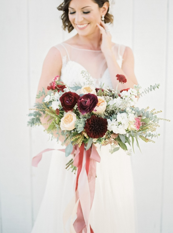 Burgundy and blush bouquet with flowing ribbons