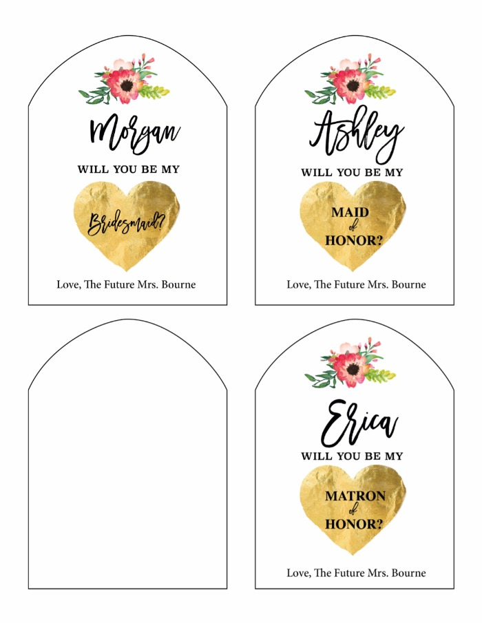 Print Will You Be My Bridesmaid Free Printable Wine Labels