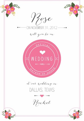 Will You Be My Bridesmaid Free Printable Cards