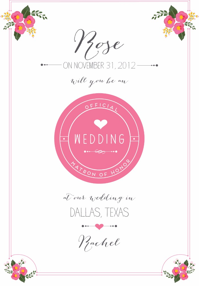 Print: Will You Be My Bridesmaid Free Printable Cards