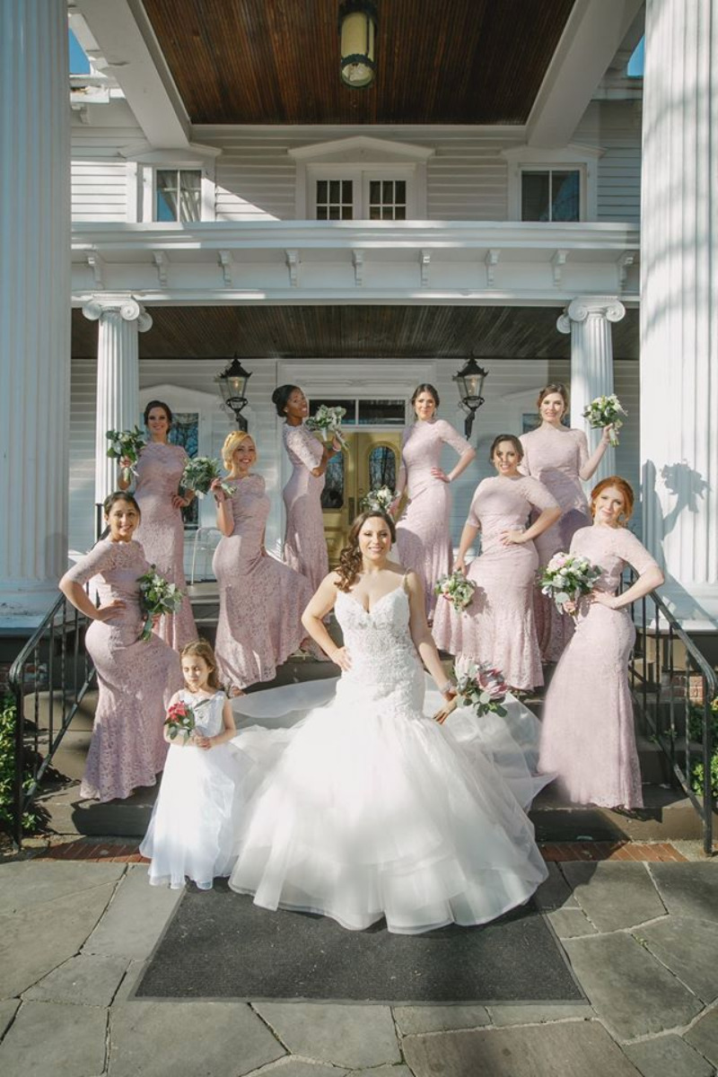 April wedding at FEAST at Round Hill, wedding venue in New York. Gorgeous bridal party dressed in pink. Photo by Omar Veloz.