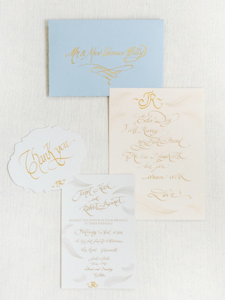 Gold calligraphy invitation suite