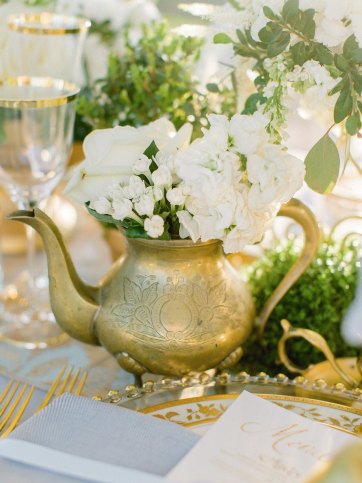 Repurposed teapot as a centerpiece