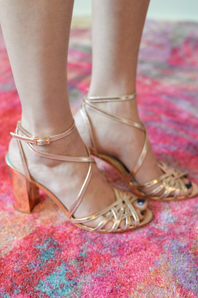 gold strappy heels