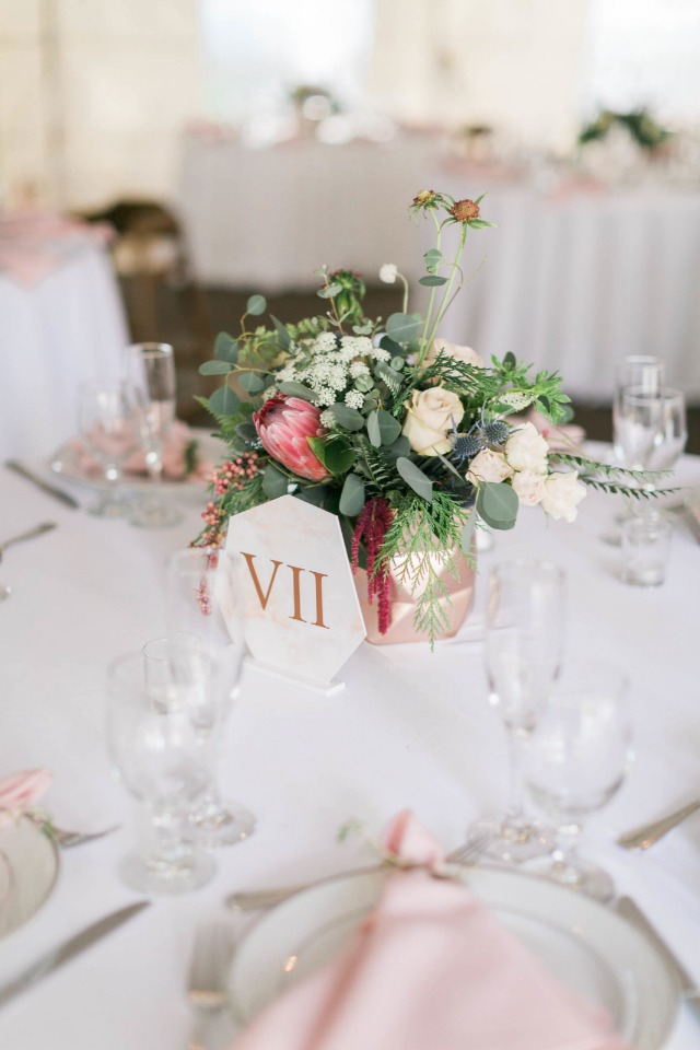 Modern centerpiece and table number