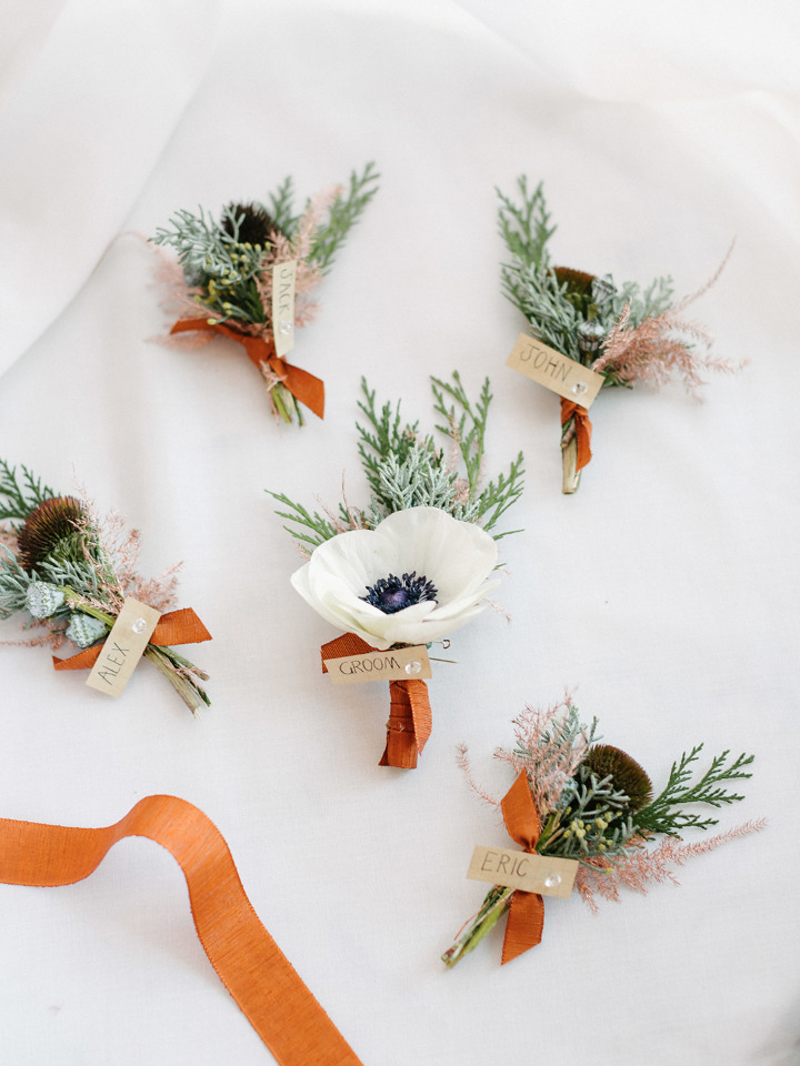 anemone and ribbon boutonniere