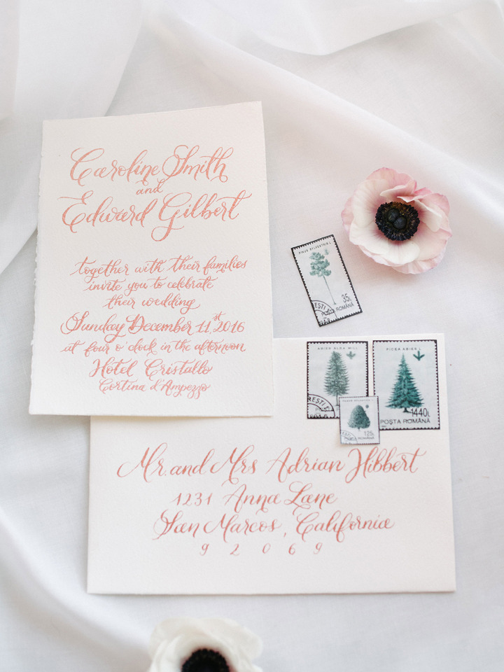copper calligraphy wedding invites