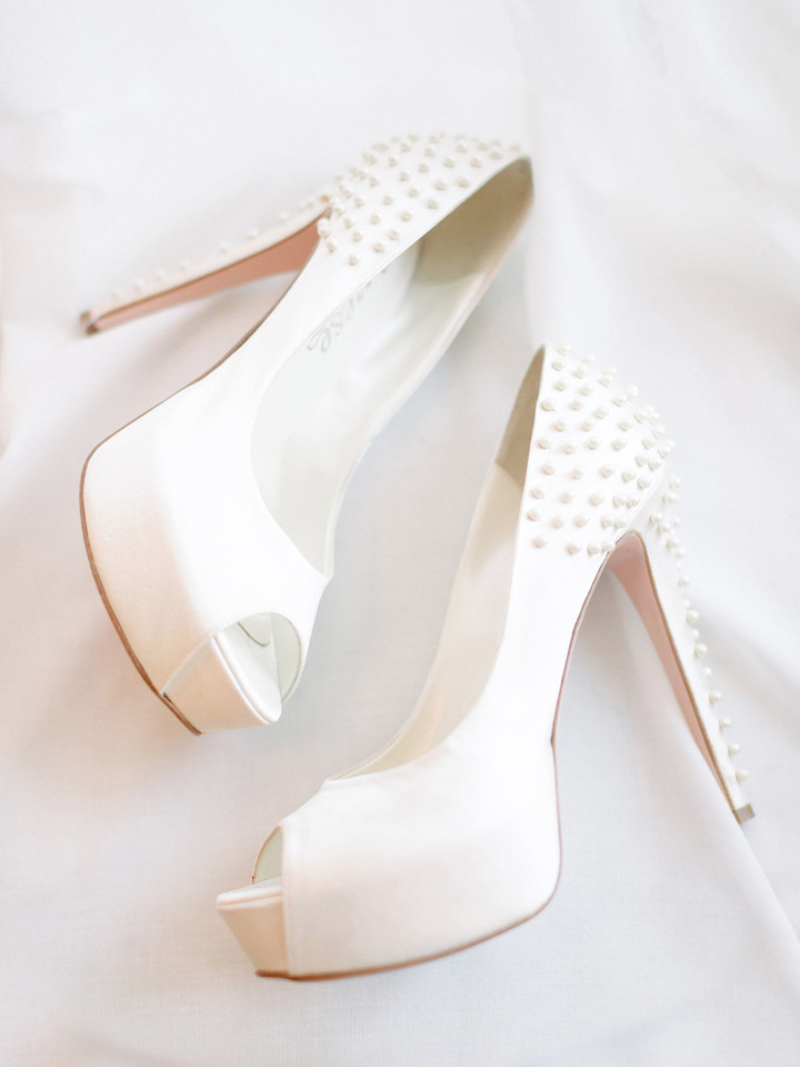 white wedding heels with pearls