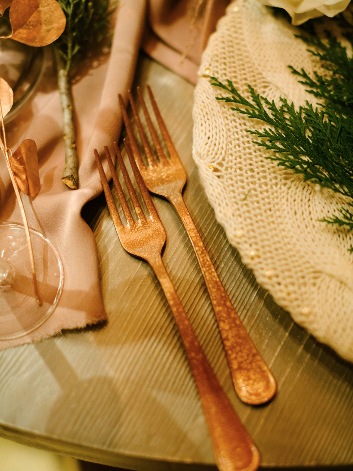 pretty copper wedding flatware