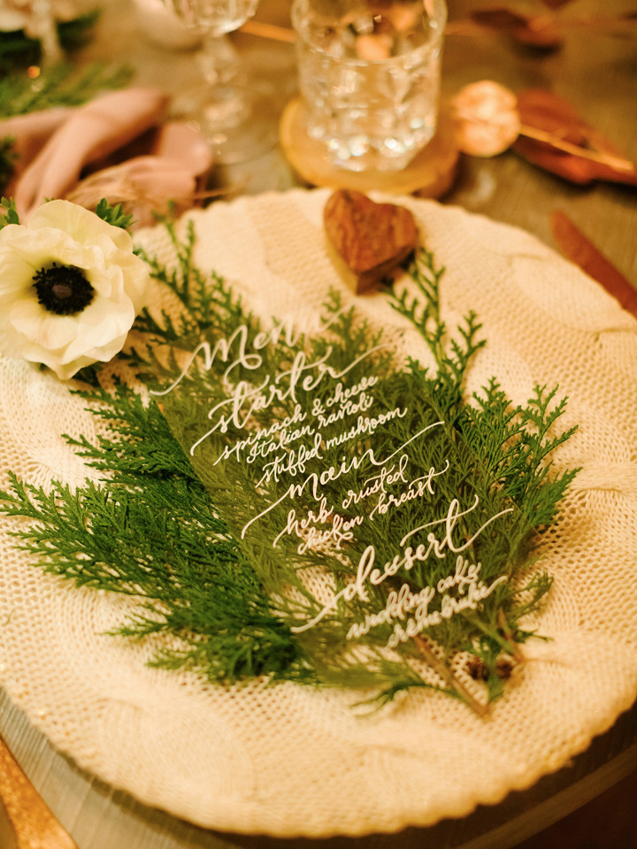 clear calligraphy wedding menus
