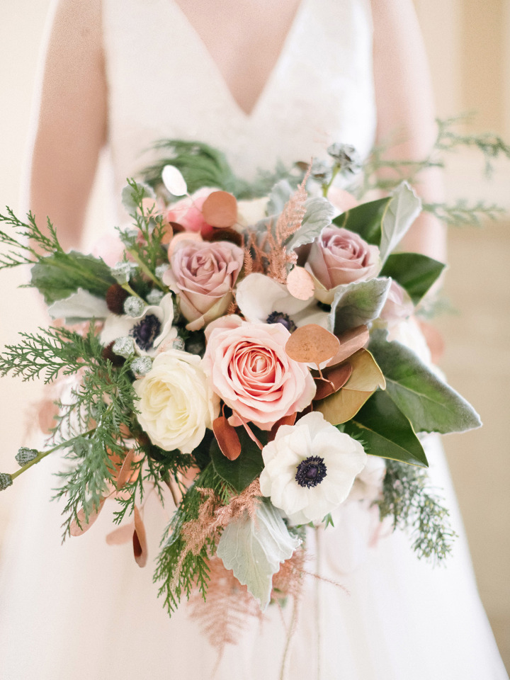 anemone and rose wedding bouquet
