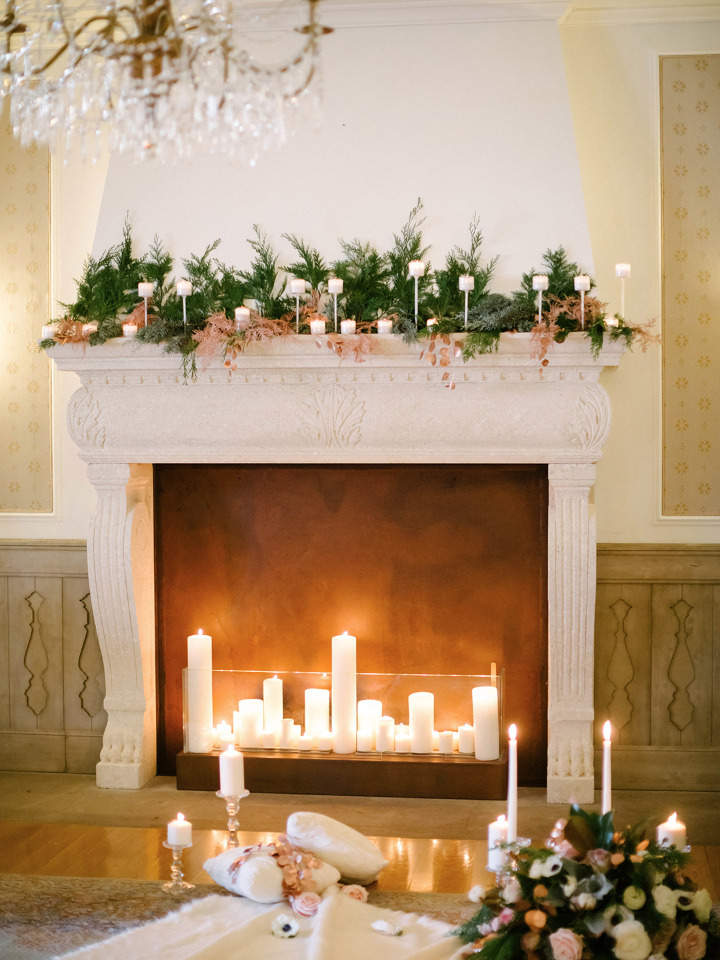 cozy fireplace wedding decor ideas