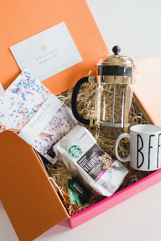 coffee inspired Will you be my bridesmaid box