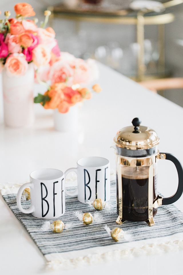 gold french press and bff mugs make the perfect will you be my bridesmaid gift idea