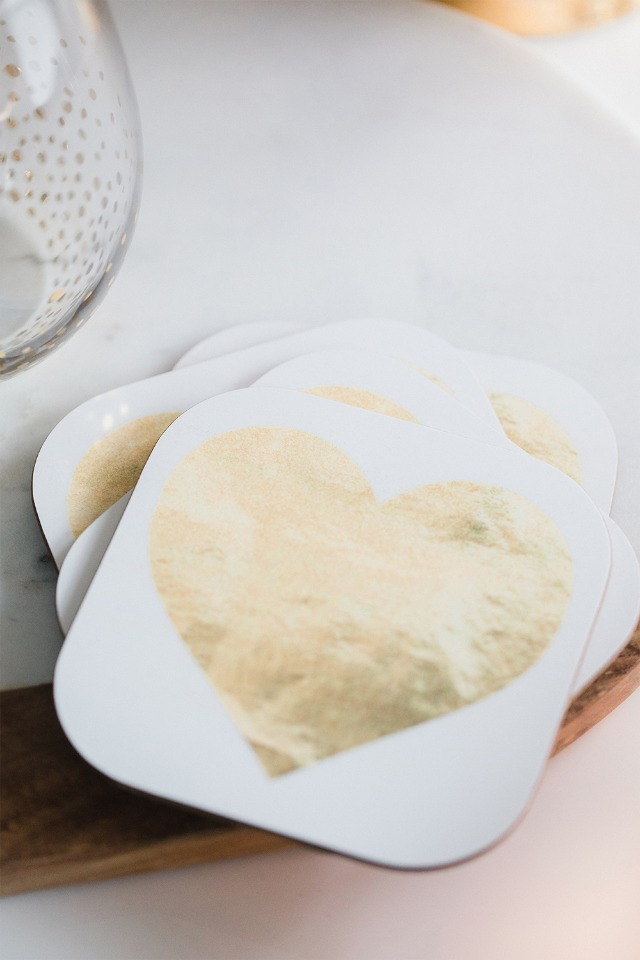 gold heart coasters from Wayfair