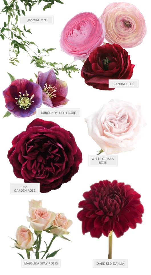 burgundy and pink bouquet flower guide