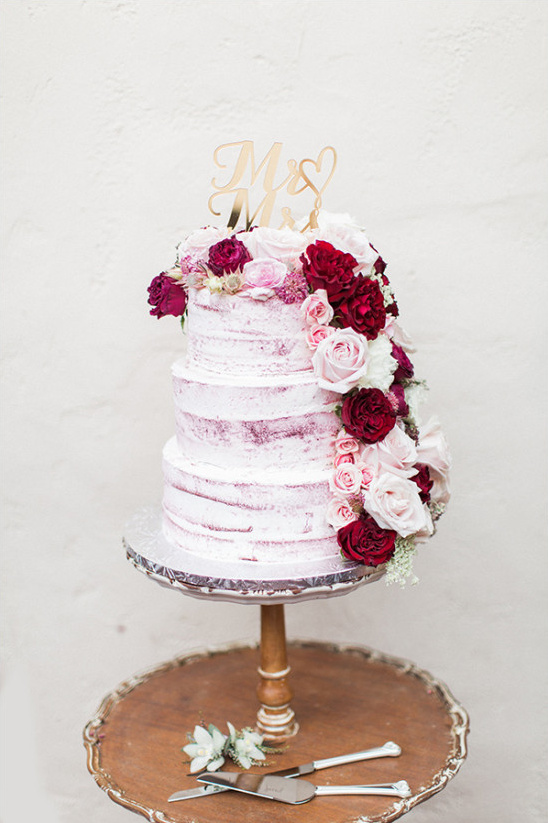 beautiful flower topped wedding cake
