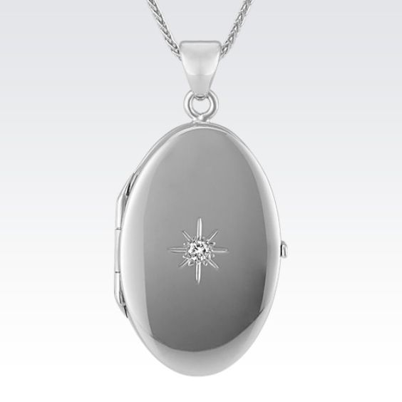 Mother's Day gift idea Diamond Starburst Oval Locket in Sterling Sliver