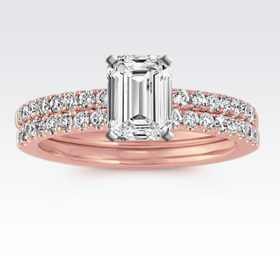 14k Rose Gold Pave-Set Round Diamond Wedding Set from Shane Co.