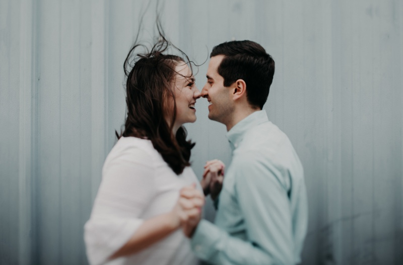 windy hair + ombre wall + happy couple = perfect engagement session