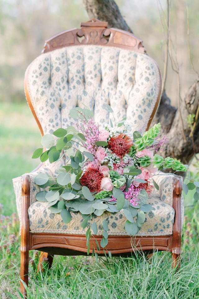 vintage chair and modern bouquet