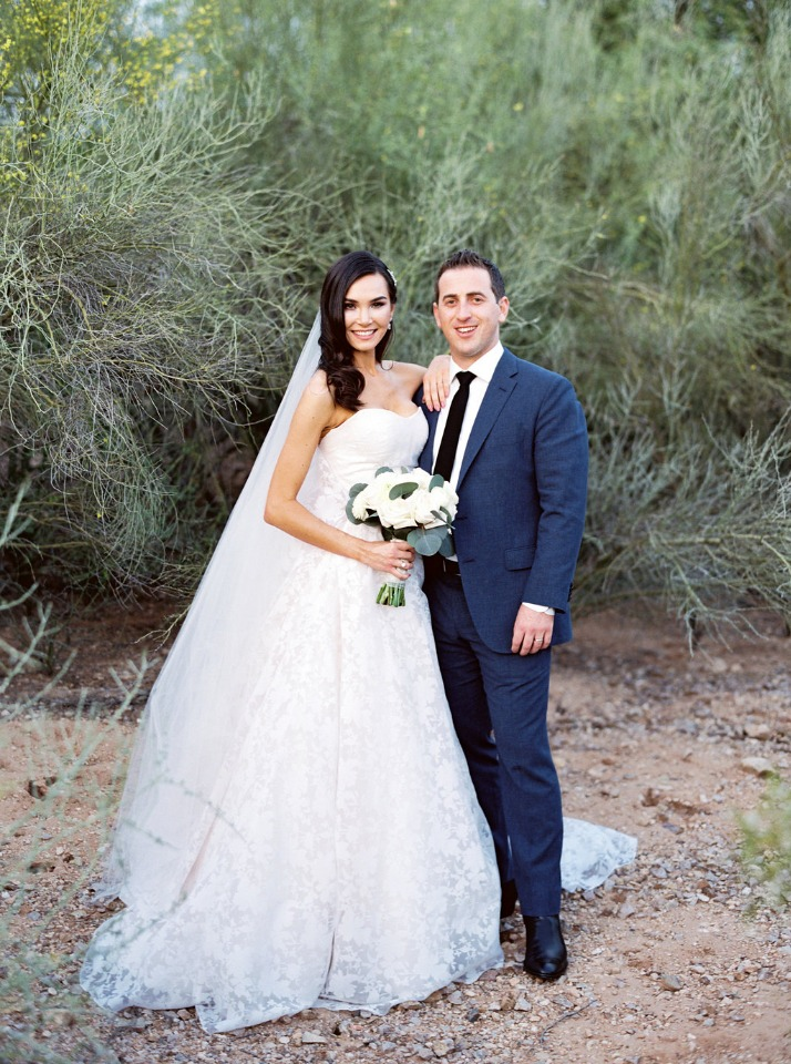 sunset desert wedding portraits