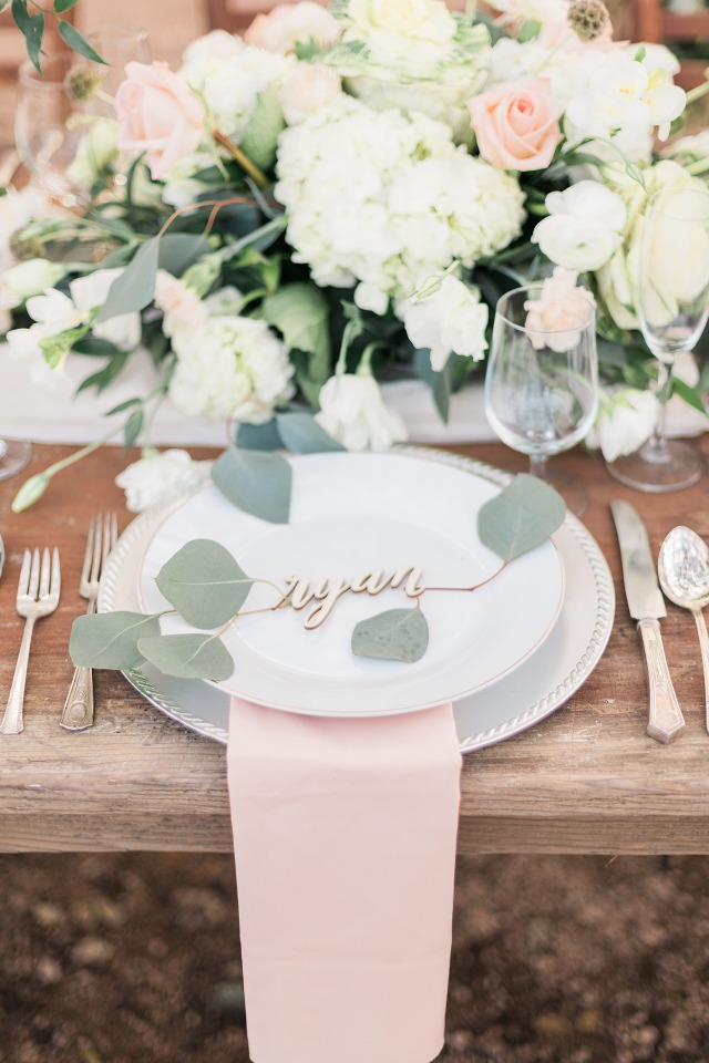 peach and green wedding table place setting