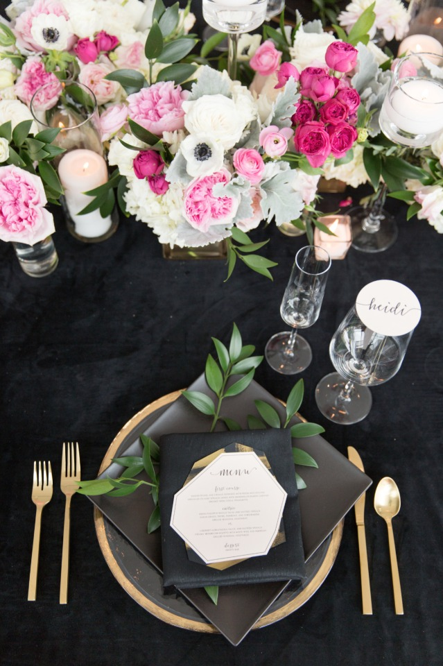 black gold and pink wedding table decor