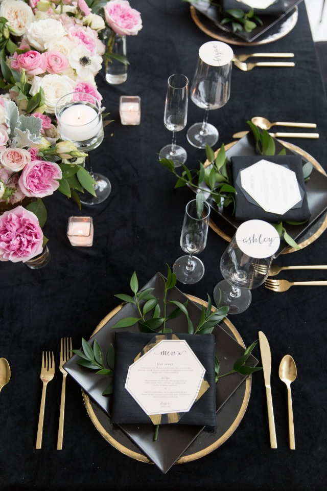 black gold and pink modern tabled decor