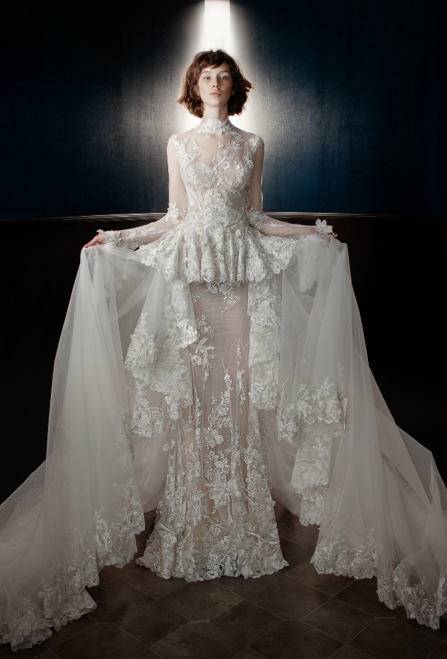 Tesla gown with removable train from Galia Lahav