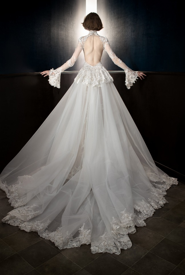 Back of Tesla gown with removable train from Galia Lahav