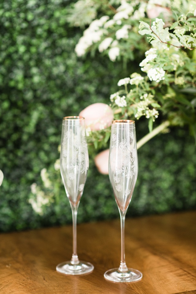 romantic etched champagne flutes