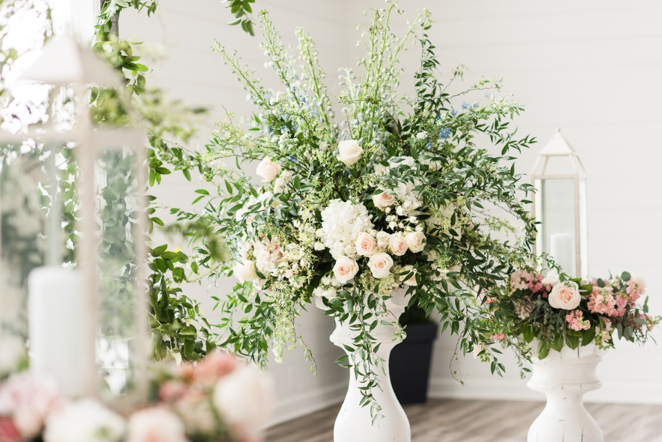 romantic and over grown style flower arrangements
