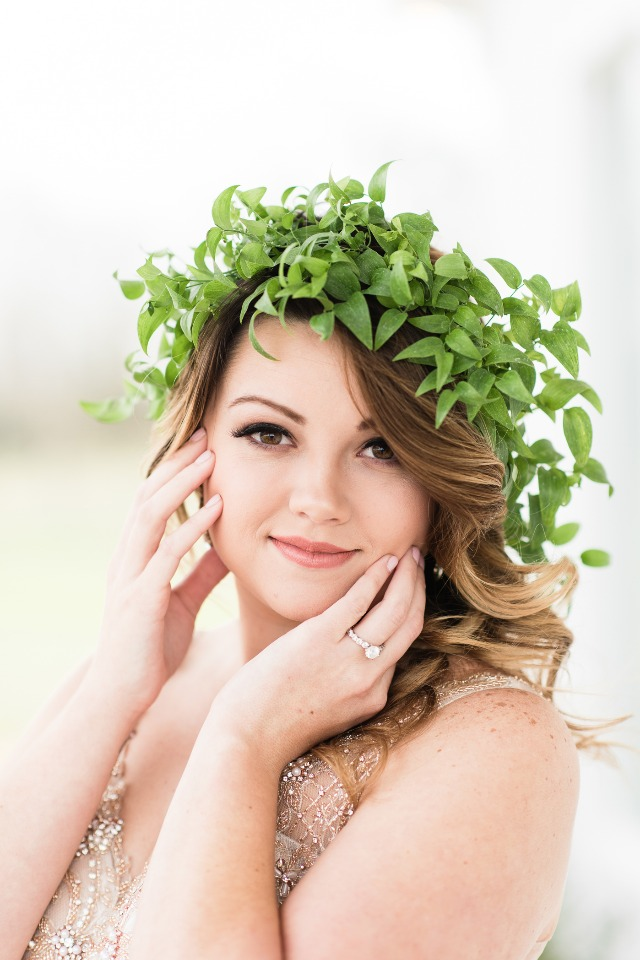 greenery wedding halo