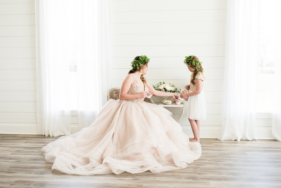 bride in blush Martina Liana wedding dress