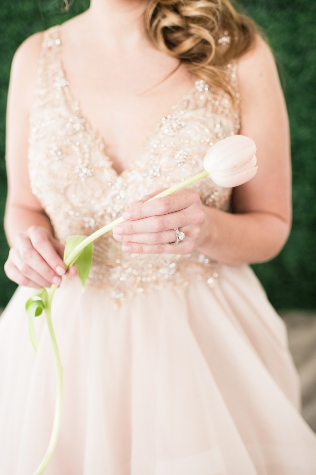 wedding ring and that blush Martina Liana dress