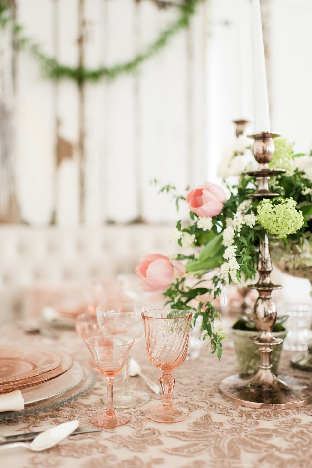 soft blush and white table decor