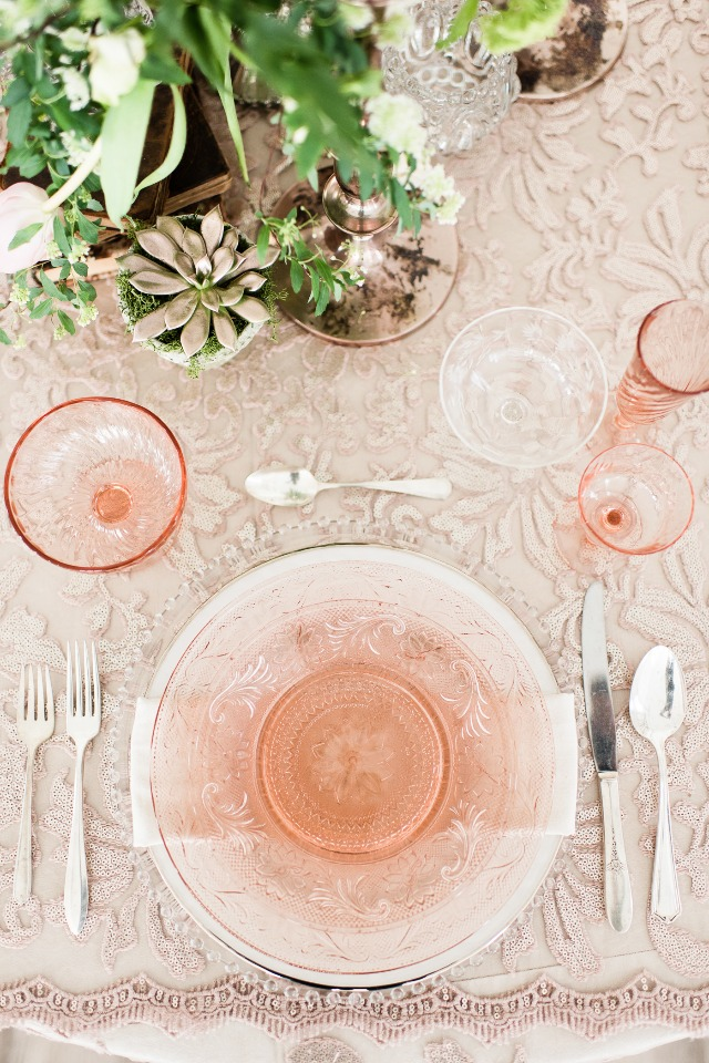 blush and rose gold place setting