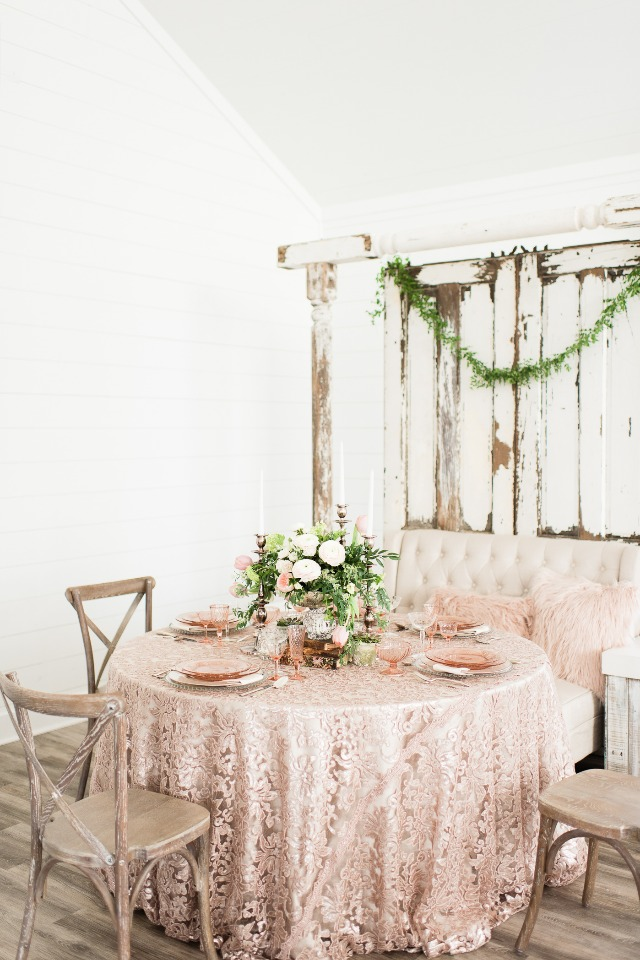 blush and rose gold table setting