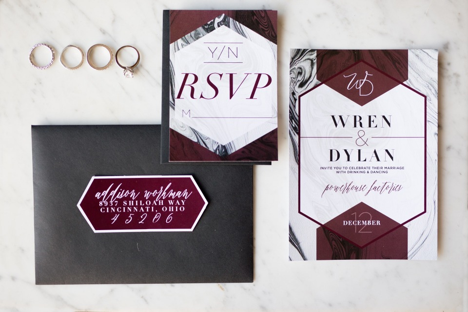 Marble invitation suite with burgundy