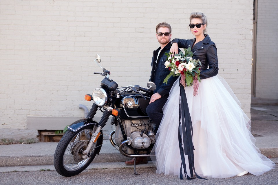 Edgy bride and groom