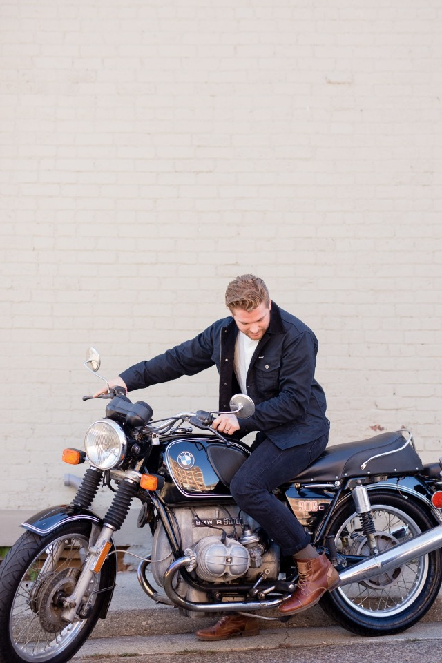 Groom on a motorcycle