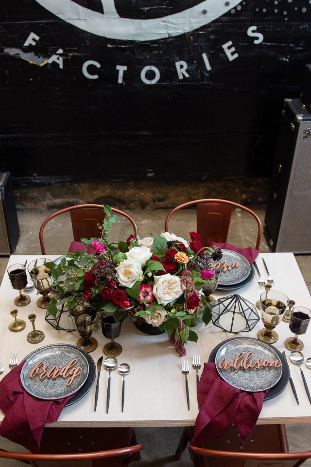 Industrial inspired table setting with burgundy and copper