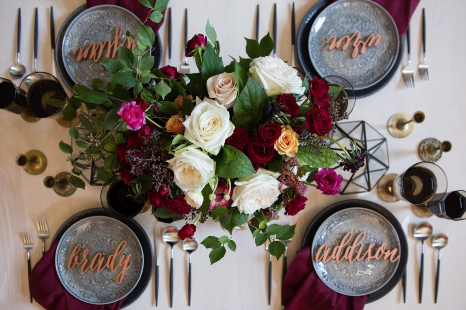 Burgundy and copper table setting