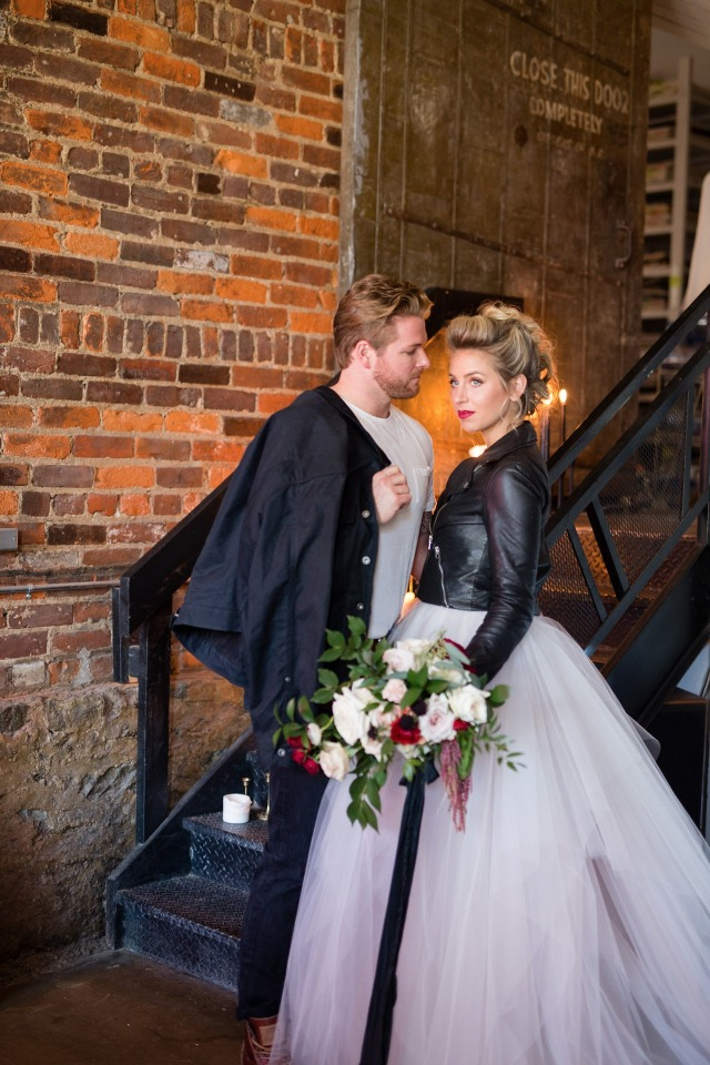 Leather jacket + tulle dress for the edgy bride