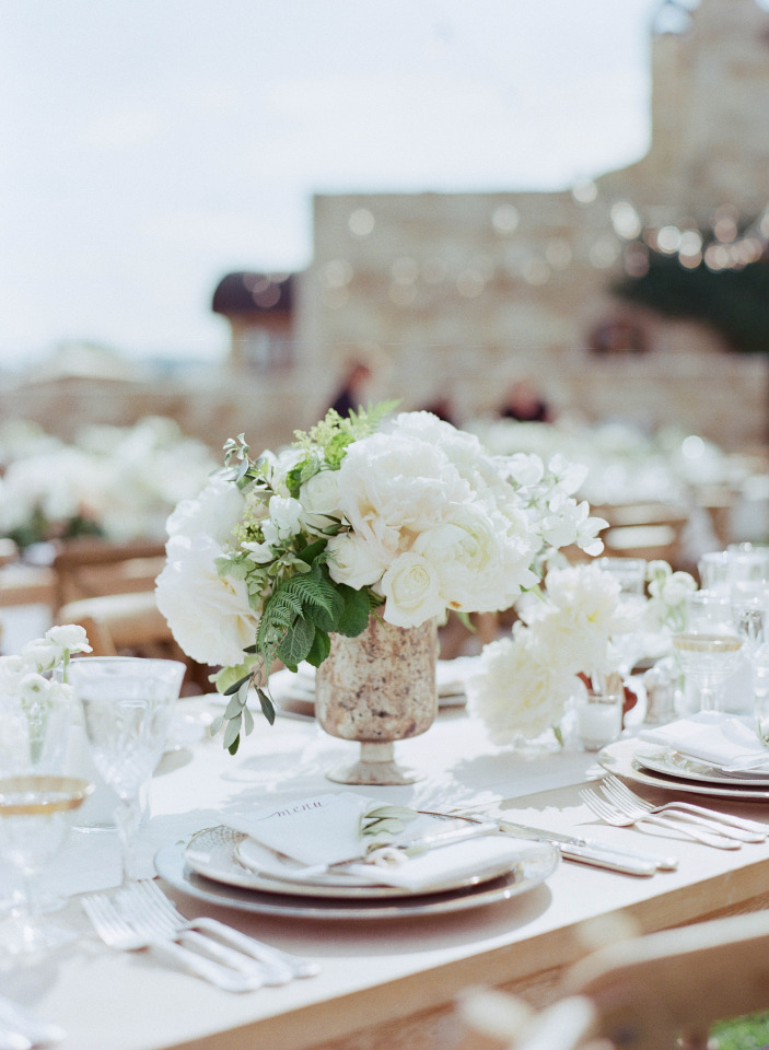 white peony wedding centerpiece