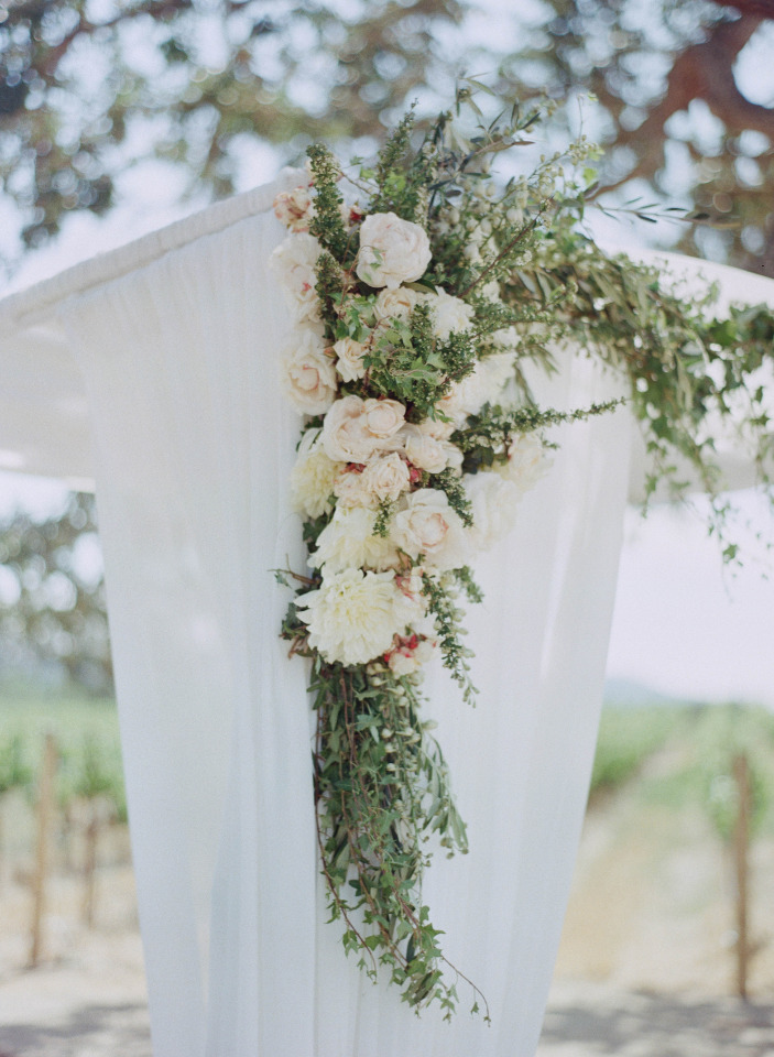 peony wedding ceremony arch decor