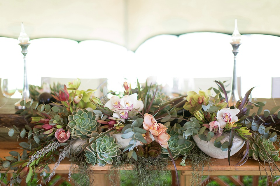 succulent and floral wedding centerpiece