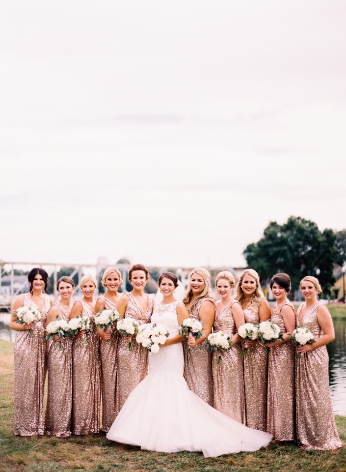 Sparkly rose gold dresses